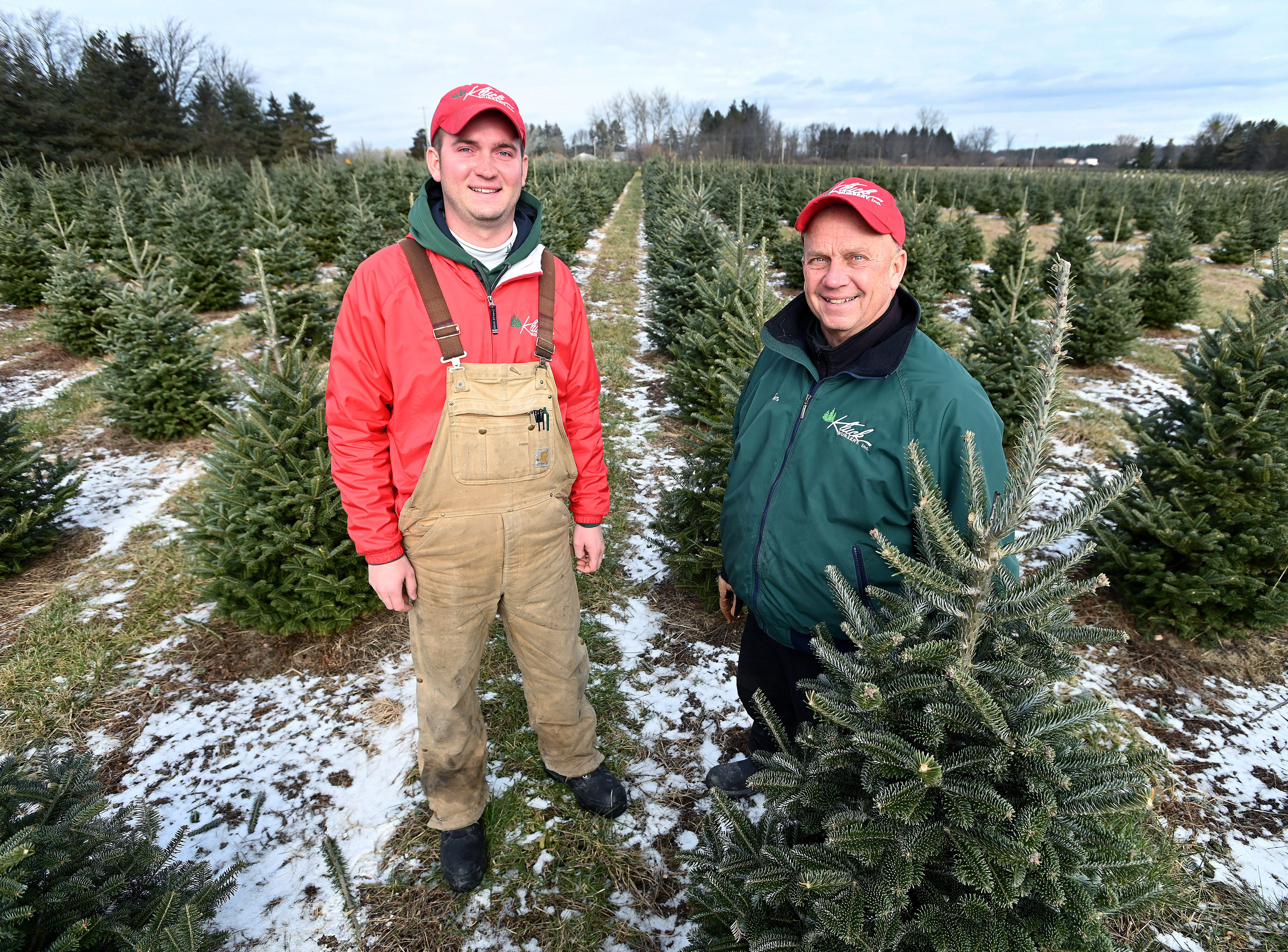 Father and son team Tom, right, and Tyler Kluck have to look ahead and make sure there are enough trees being grown for future harvests. Tom's grandfather Walter started the Christmas tree business on the family dairy farm in the 1920s.