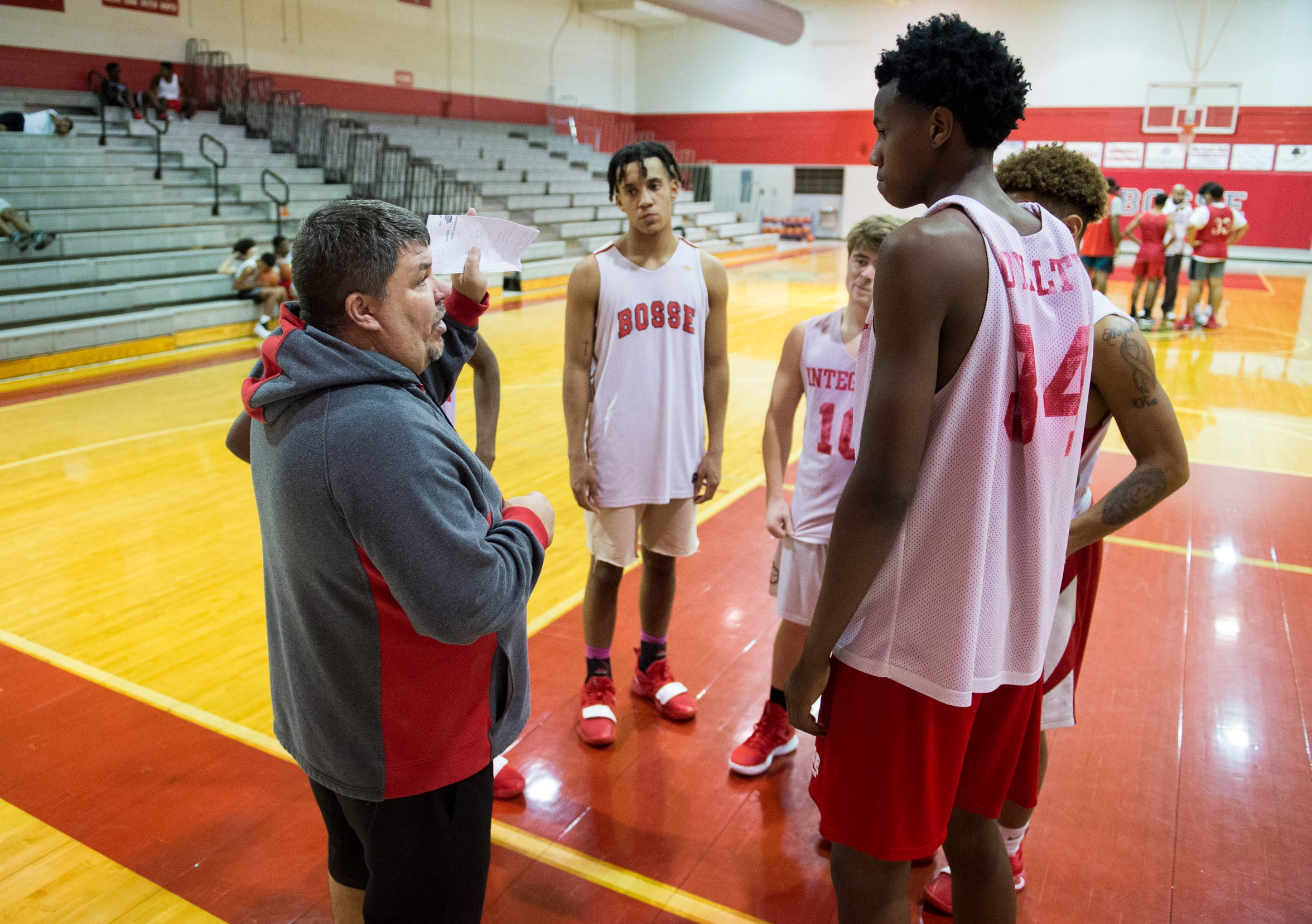 Bosse Head Coach Shane Burkhart directs players during practice Thursday, Dec. 13, 2018.