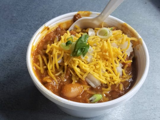 Don't miss the chili at Read St. BBQ. It's smoky, made with a smorgasbord of barbecued meats, traditional chili spices, and a topping of cheddar and onions.