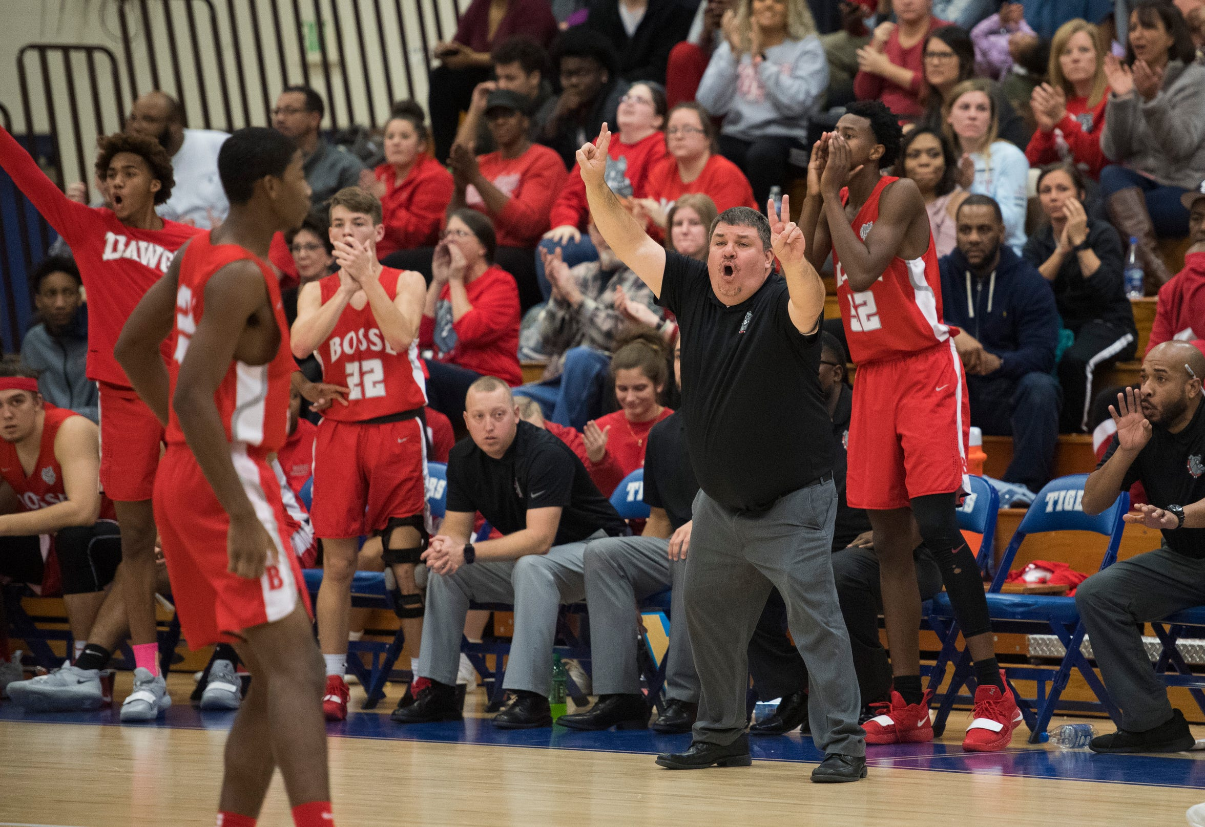 Bosse Head Coach Shane Burkhart calls a play during the  Bosse vs Memorial game Tuesday, Dec. 11, 2018.