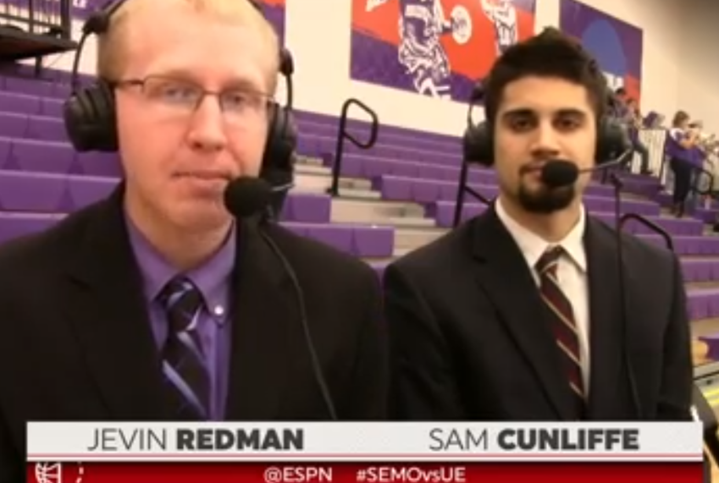 Evansville basketball redshirt Sam Cunliffe served as color commentator alongside Voice of the Aces Jevin Redman during the women's basketball game against Southeast Missouri on Dec. 8.
