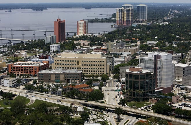 An aerial view of downtown Fort Myers.