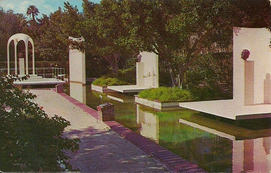 This postcard features a section of the Garden of Patriots in the Cape Coral Gardens, which opened in 1966.