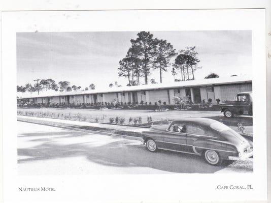 Postcard Nautilus Motel W Old Car Truck Cape Coral