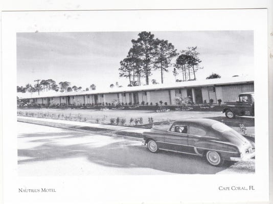 Postcard Nautilus Motel W Old Car Truck Cape Coral