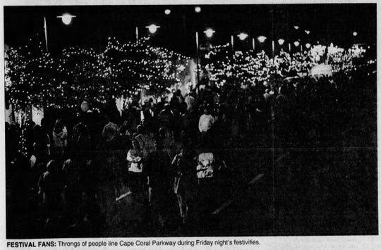 Cape Coral residents were feeling festive at this 1997 gathering on Cape Coral Parkway.