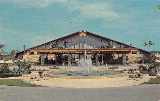 A more attractive postcard featured the new yacht and racquet club, circa 1963.