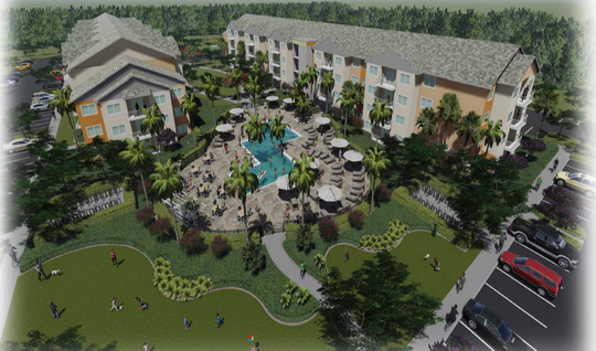 Concept sketch of Beaches Gateway Village, a worker rental housing project TPI Hospitality aims to pursue in 2019.