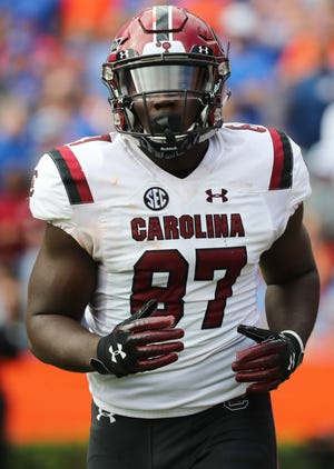 South Carolina has won eight games or more in a season 14 times in its previous 125 years of football. Kiel Pollard (87) and the Gamecocks are favorites to get that eighth win this week.