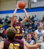 Belt's Aiden McDaniel shoots during Thursday's basketball game against Fairfield.