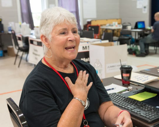 Alice Klundt works with Red Cross volunteers responding to Hurricane Michael in Florida. She's deployed to Guam, American Samoa, Texas, Virginia, North Carolina and many other places during her 33 years in the American Red Cross.