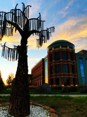 The federal courthouse in Great Falls at sunset