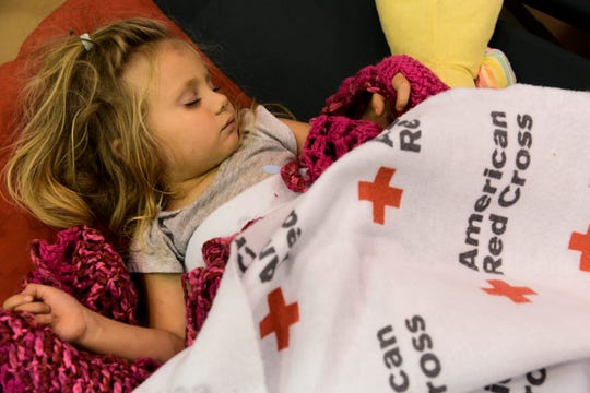 The Red Cross set up shelters, which as this one that hosted 3-year-old Makinzy, whose family evacuated before Hurricane Michael made landfall in Florida in October. This is the third hurricane her family has experienced in three years: first in Jacksonville in 2016 and again in Georgia in 2017.