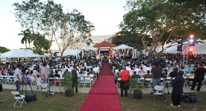 The inauguration of Guam's first woman governor will be held at Plaza de España in Hagåtña at 4 p.m. on Jan. 7, 2019. It was the same venue for Gov. Eddie Calvo's first inauguration on Jan. 3, 2011. In this file photo, Calvo delivers his inaugural address in 2011.