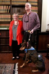 Garland and Susan Steadman with Garland's guide dog Maddie, who came from Gallant Hearts Guide Dog Center in Madison.