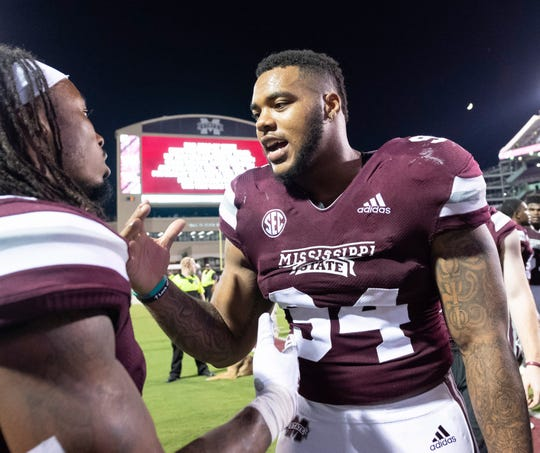 Sep 15, 2018; Starkville, MS, USA; Mississippi State Bulldogs defensive lineman Jeffery Simmons (94) celebrates after the game against the UL Lafayette Ragin' Cajuns at Davis Wade Stadium.
