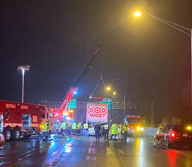 The scene of the fatal crash in Fishers on I-69, Dec. 20, 2018.