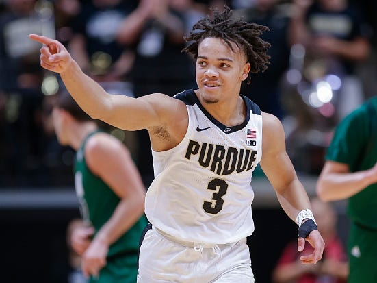 WEST LAFAYETTE, IN - DECEMBER 20: Carsen Edwards #3 of the Purdue Boilermakers reacts after a three point basket during the game against the Ohio Bobcats at Mackey Arena on December 20, 2018 in West Lafayette, Indiana. (Photo by Michael Hickey/Getty Images)