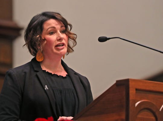 Chelsea Haring-Cozzi, Executive Director of CHIP, speaks during the National Homeless Persons' Memorial Service at Roberts Park United Methodist Church, Friday, Dec. 21, 2018.