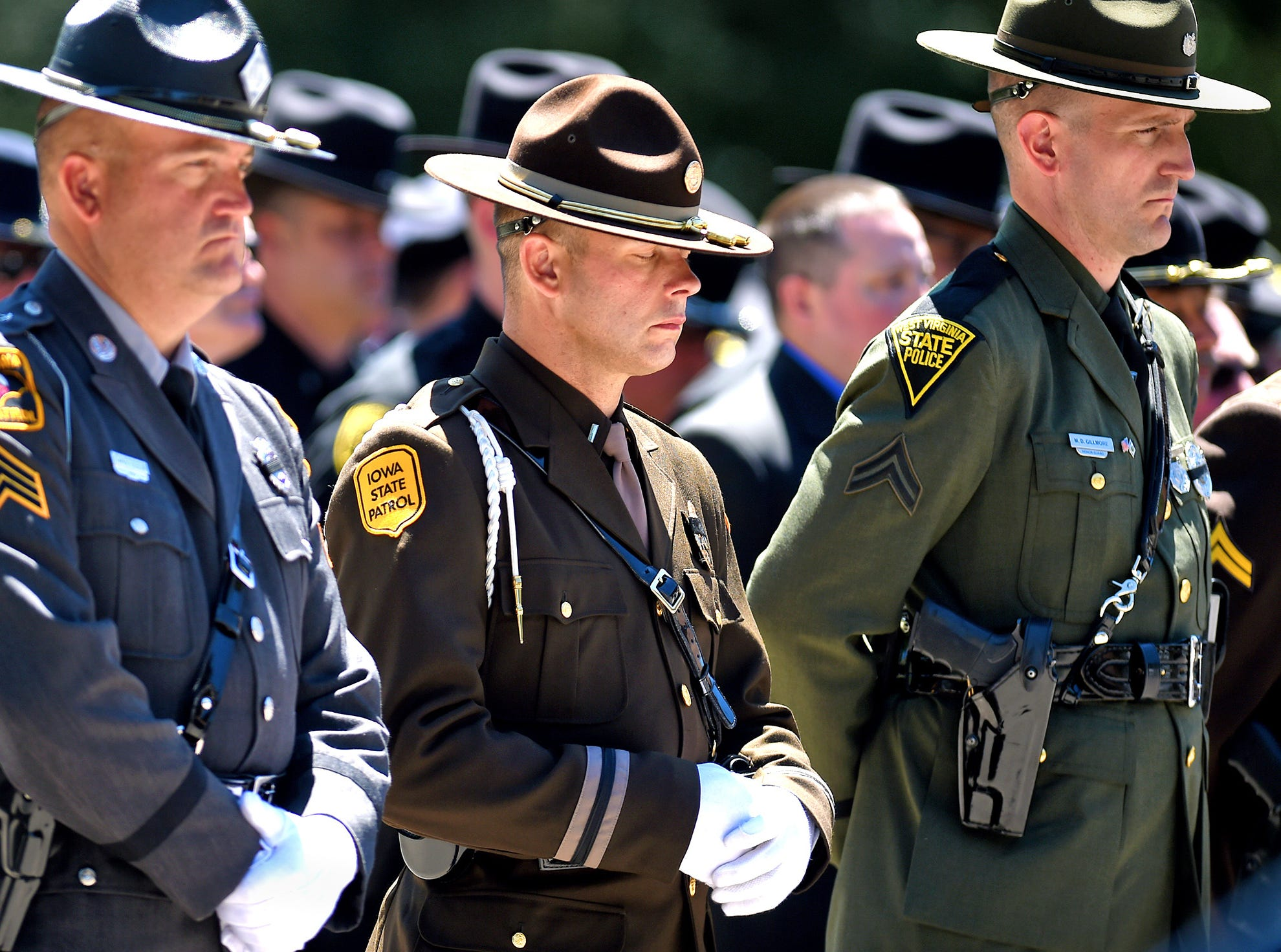 Funeral service for Trooper Nicholas F. Clark at the James A. McLane Physical Education Center, Alfred University, July 8, 2018.
