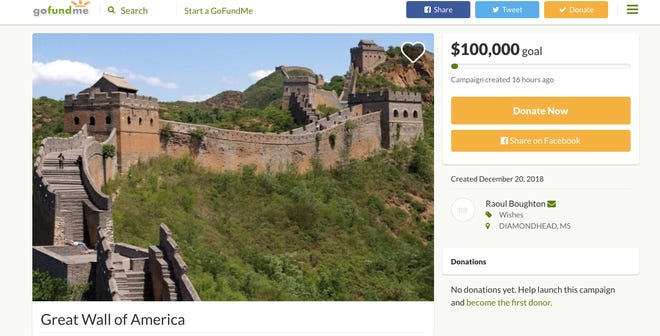 """Raoul Boughton created a GoFundMe campaign called """"Great Wall of America"""" to raise money for his student loans and needy children, not for Trump's border wall."""