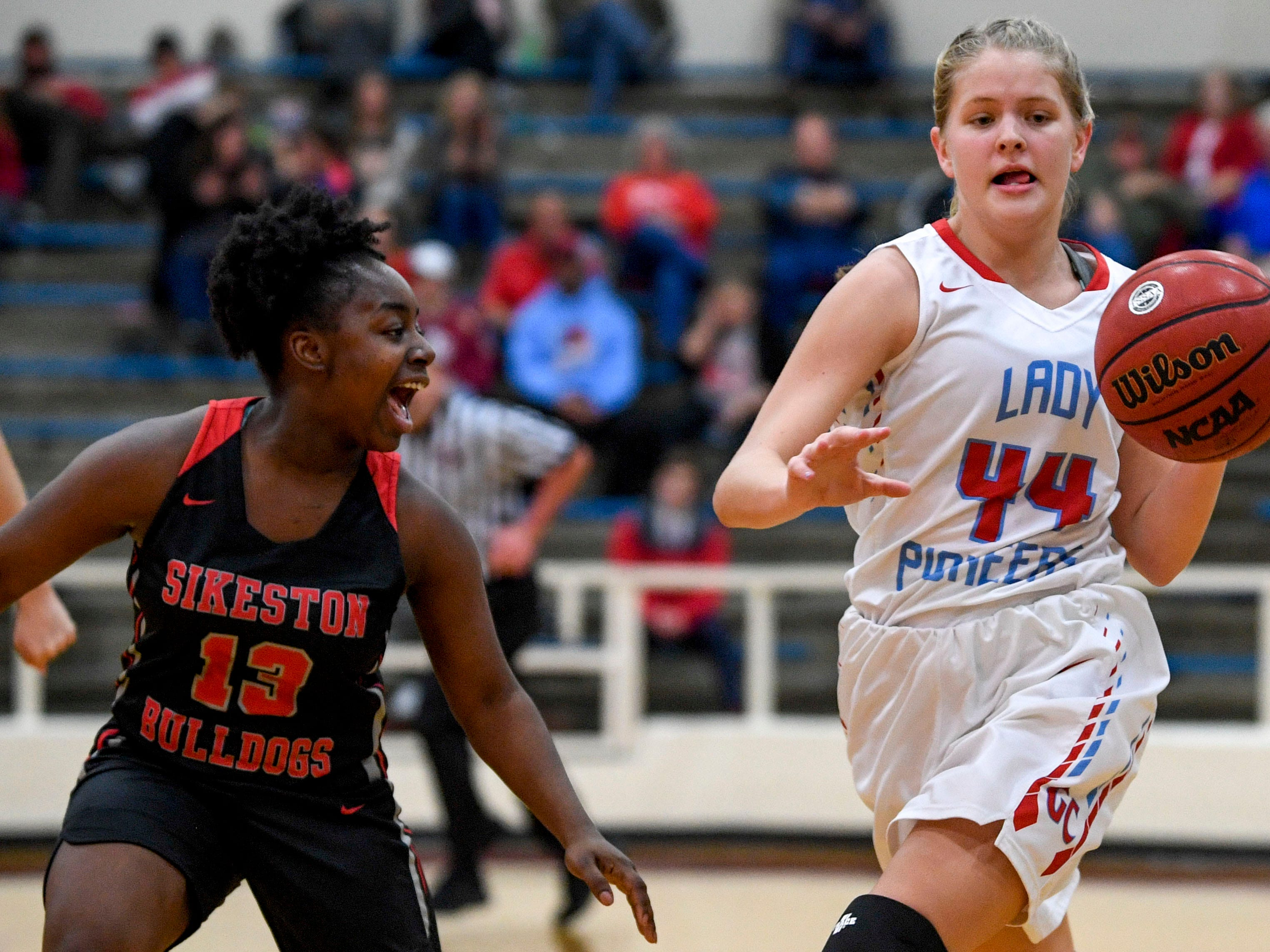Gibson County's Ayden Carroll (44) moves down the court in a TSSAA girls basketball game between Gibson County and Sikeston (MO) in the Gibson County Christmas Tournament at Gibson County High School in Dyer, Tenn., on Thursday, Dec. 20, 2018.