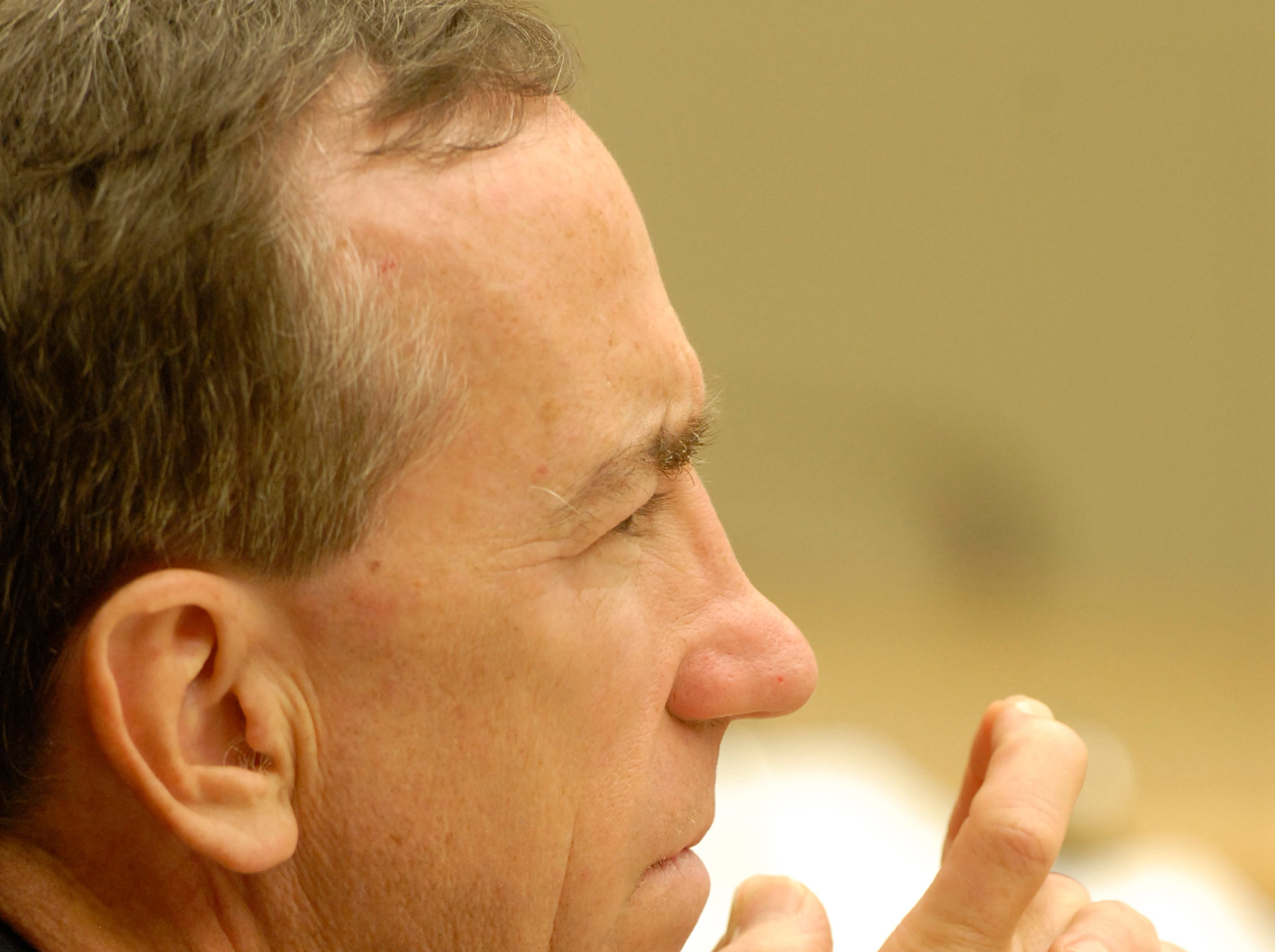 News Sentinel editor Jack McElroy listens during Wednesday's proceedings in Knox County Chancery Court where the newspaper's lawsuit over alleged violations of the Tennessee Open Meetings Act continues. Wednesday, September 19 2007
