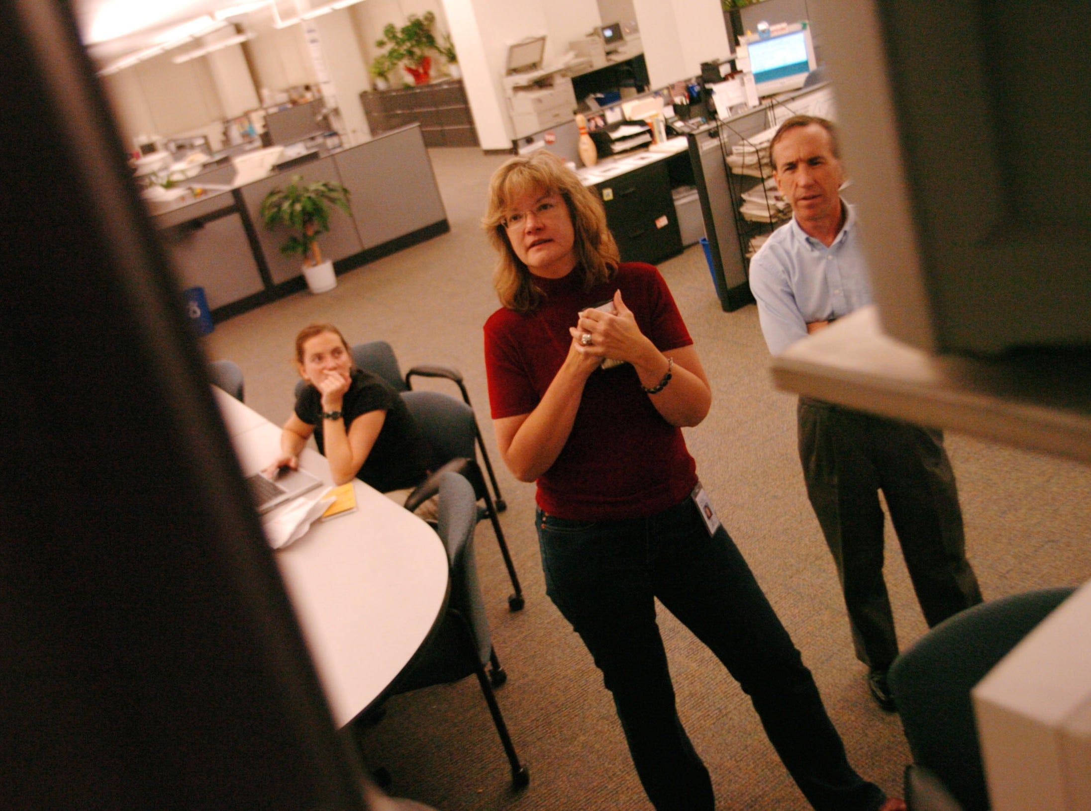 Amy Smotherman, Lara Edge, Jack McElroy watching results.  11/3/04