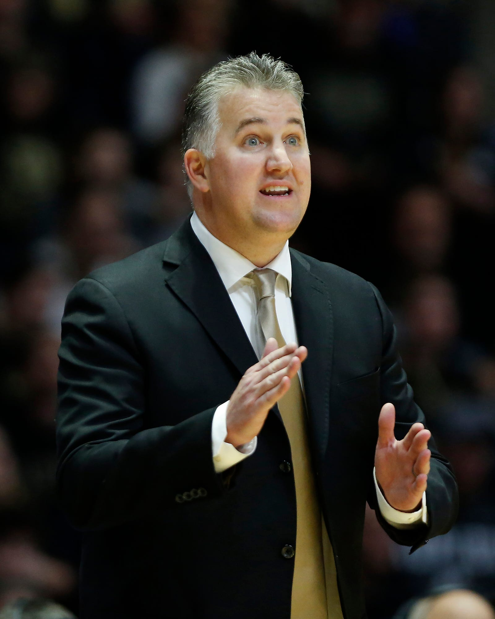 Purdue head coach Matt Painter shouts instructions as the Boilermakers extend their lead in the second half against Ohio Thursday, December 20, 2018, at Mackey Arena. Purdue defeated Ohio 95-67.