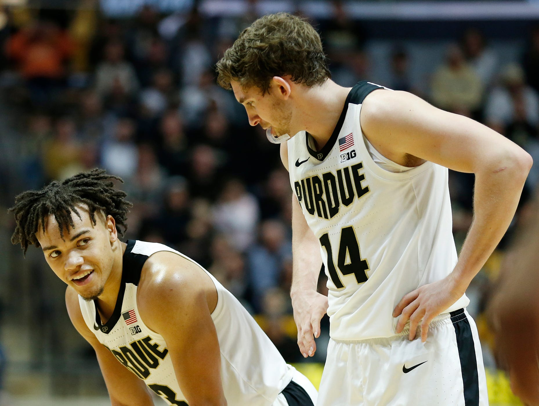 Carsen Edwards of Purdue has a laugh with teammate Ryan Cline before stepping up to the free throw line in the second half against Ohio Thursday, December 20, 2018, at Mackey Arena. Purdue defeated Ohio 95-67.