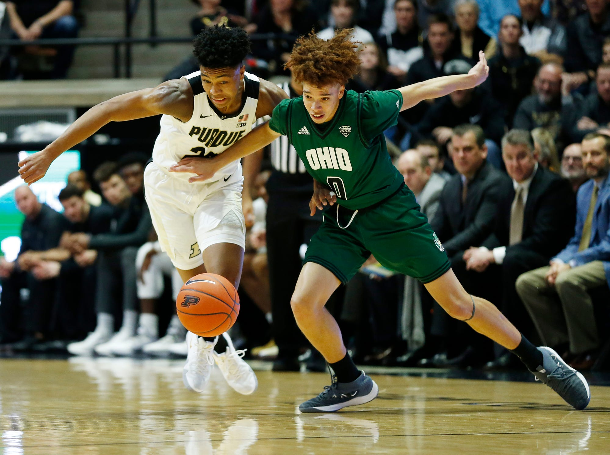 Nojel Eastern of Purdue steals the ball from Jason Preston of Ohio Thursday, December 20, 2018, at Mackey Arena. Purdue defeated Ohio 95-67.