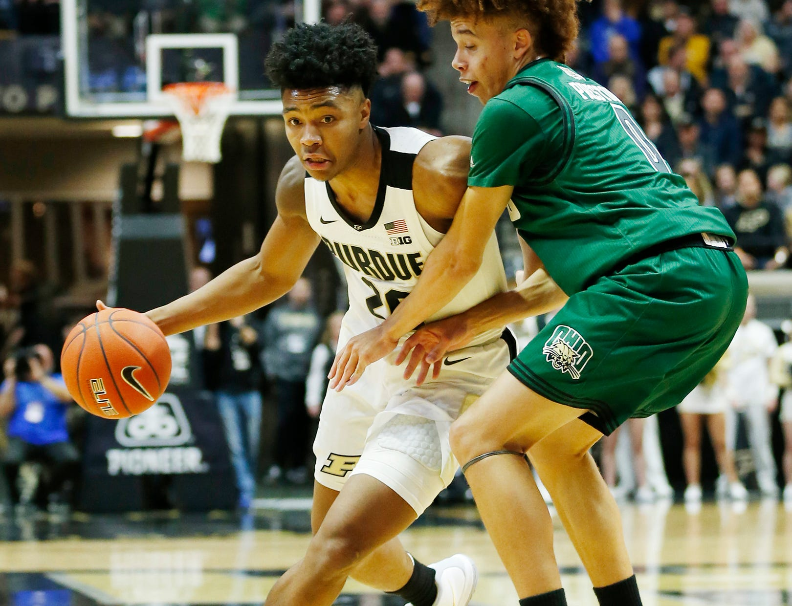 Nojel Eastern of Purdue begins a drive at the top of the key against Jason Preston of Ohio Thursday, December 20, 2018, at Mackey Arena. Purdue defeated Ohio 95-67.