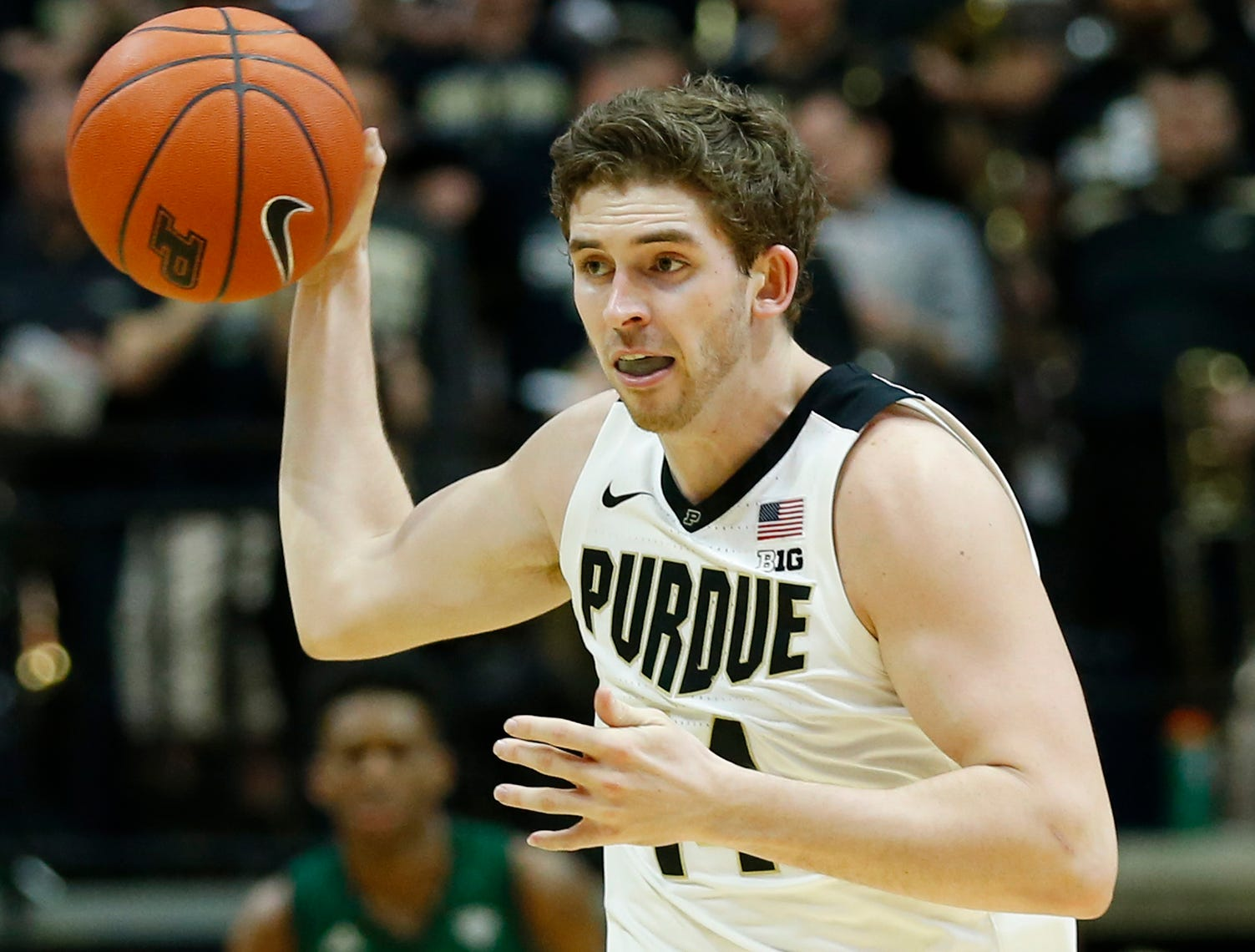 Ryan Cline of Purdue with a pass in transtition against Ohio Thursday, December 20, 2018, at Mackey Arena. Purdue defeated Ohio 95-67.