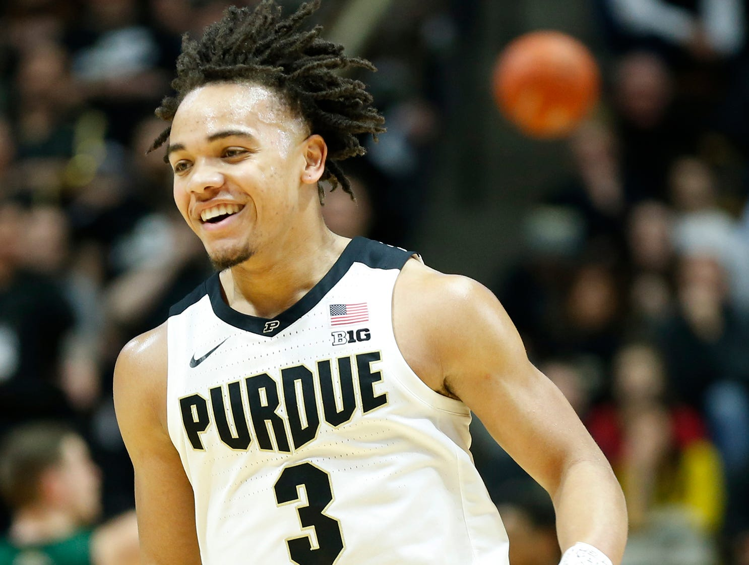 Carsen Edwards smiles as Purdue heads to the bench during a timeout as they face Ohio Thursday, December 20, 2018, at Mackey Arena. Purdue defeated Ohio 95-67.