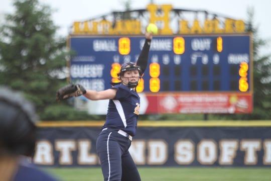 Hartland pitcher Rachel Everett walked only five batters all season.