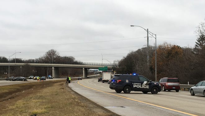 Eastbound I-496 in Lansing was closed for about three hours following a multi-vehicle crash near Pennsylvania Avenue on Friday. Dec. 21, 2018. Westbound traffic also was backed up in the area.