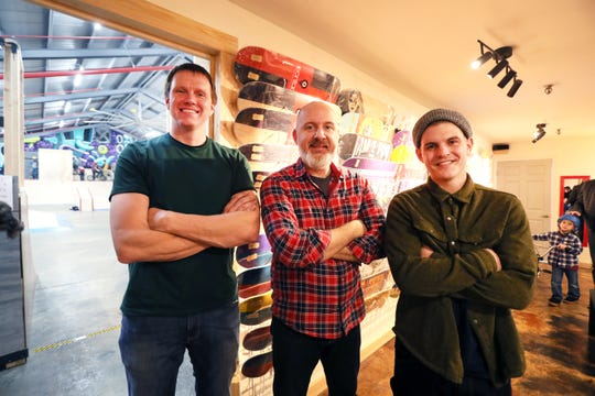 Owners Matthew Wrage, from left, Mark Horrocks and Zac Roberts inside Society Skatepark, a joint venture with Contact Skateboard Shop in the Broad Avenue Arts District which held its soft opening on Thursday, Dec. 20, 2018.