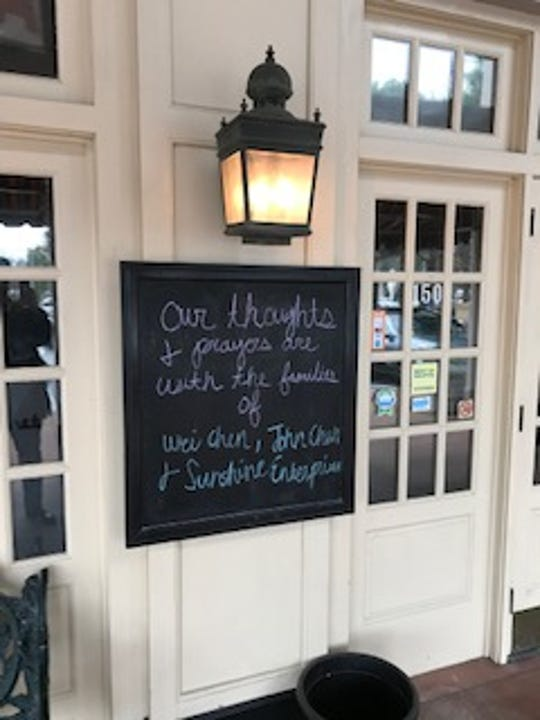 Owen Brennan restaurant in Memphis post a sign outside of their restaurant in remembrance of victims in a plane crash heading from Atlanta to Memphis.
