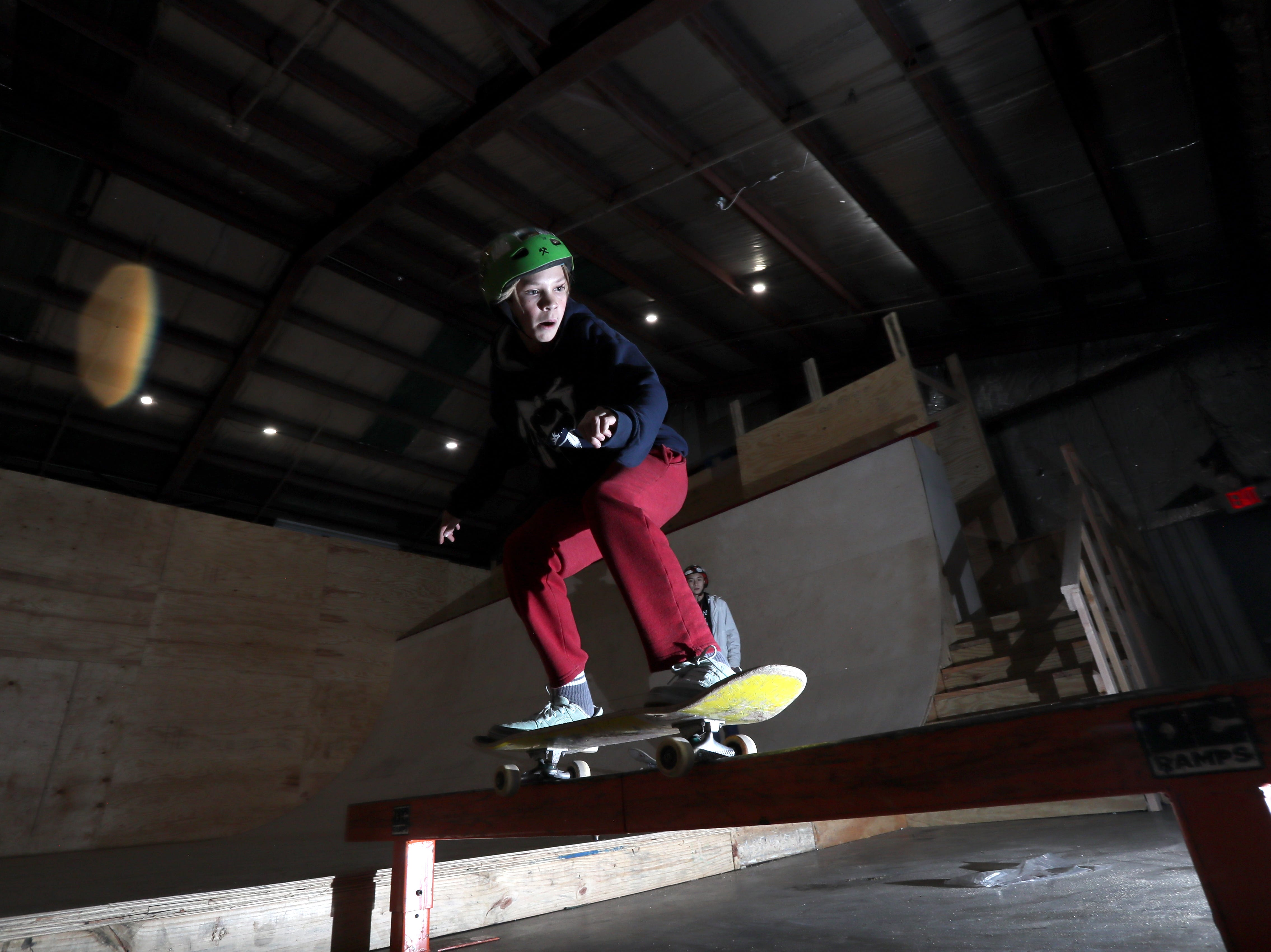 Doran Shafer, 13 rides inside Society Skatepark, a joint venture with Contact Skateboard Shop in the Broad Avenue Arts District which held its soft opening on Thursday, Dec. 20, 2018.