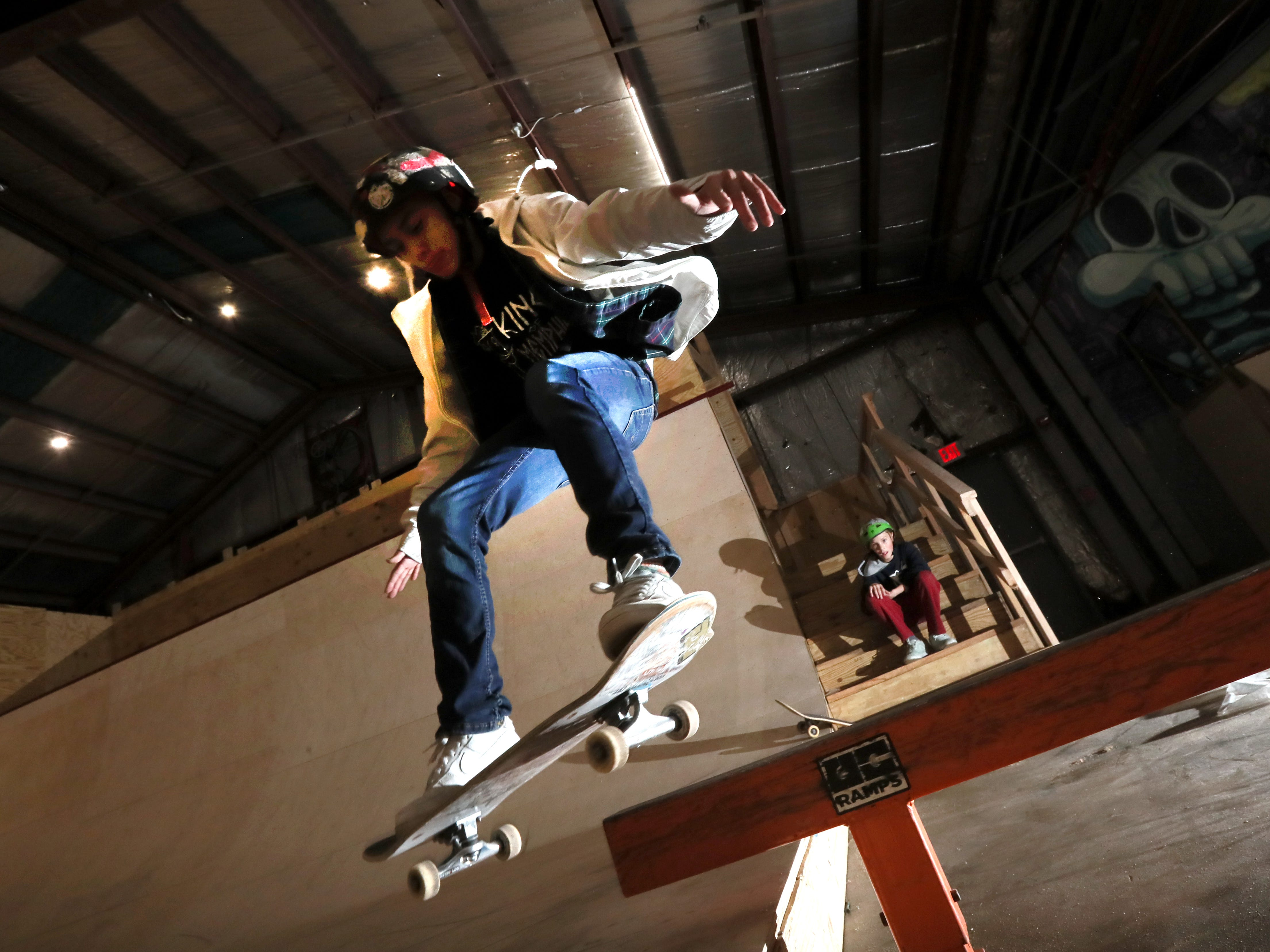 David Binkowitz, 15, rides inside Society Skatepark, a joint venture with Contact Skateboard Shop in the Broad Avenue Arts District which held its soft opening on Thursday, Dec. 20, 2018.