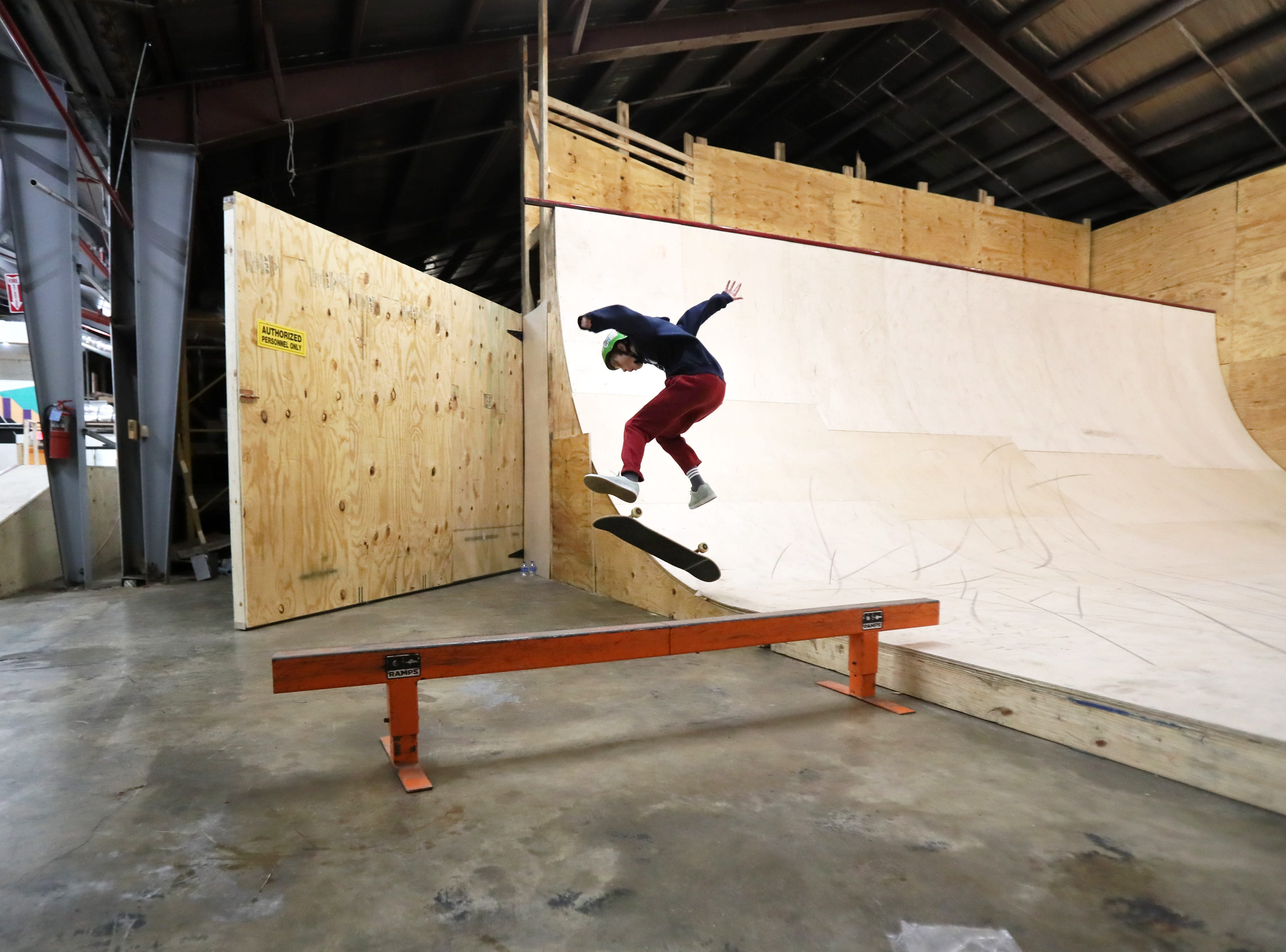 Doran Shafer, 13, rides inside Society Skatepark, a joint venture with Contact Skateboard Shop in the Broad Avenue Arts District which held its soft opening on Thursday, Dec. 20, 2018.