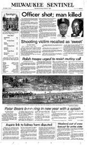 The January 2, 1982 edition of The Milwaukee Sentinel displays an article about Earnell Lucas. Lucas, then a Milwaukee police officer, was shot while responding to a noise complaint.