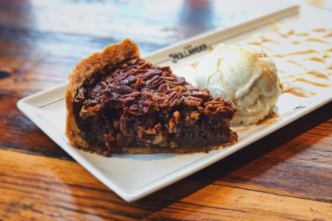 Pecan pie as served at Lowlands Group restaurants, made with Gulden Draak ale.