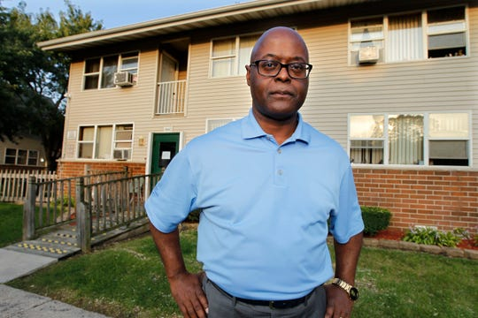 Earnell Lucas at the location where he was shot in 1982 as a young Milwaukee police officer.