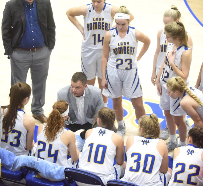 Mountain Home Lady Bomber head coach Dell Leonard talks to his team before a recent game at The Hangar.