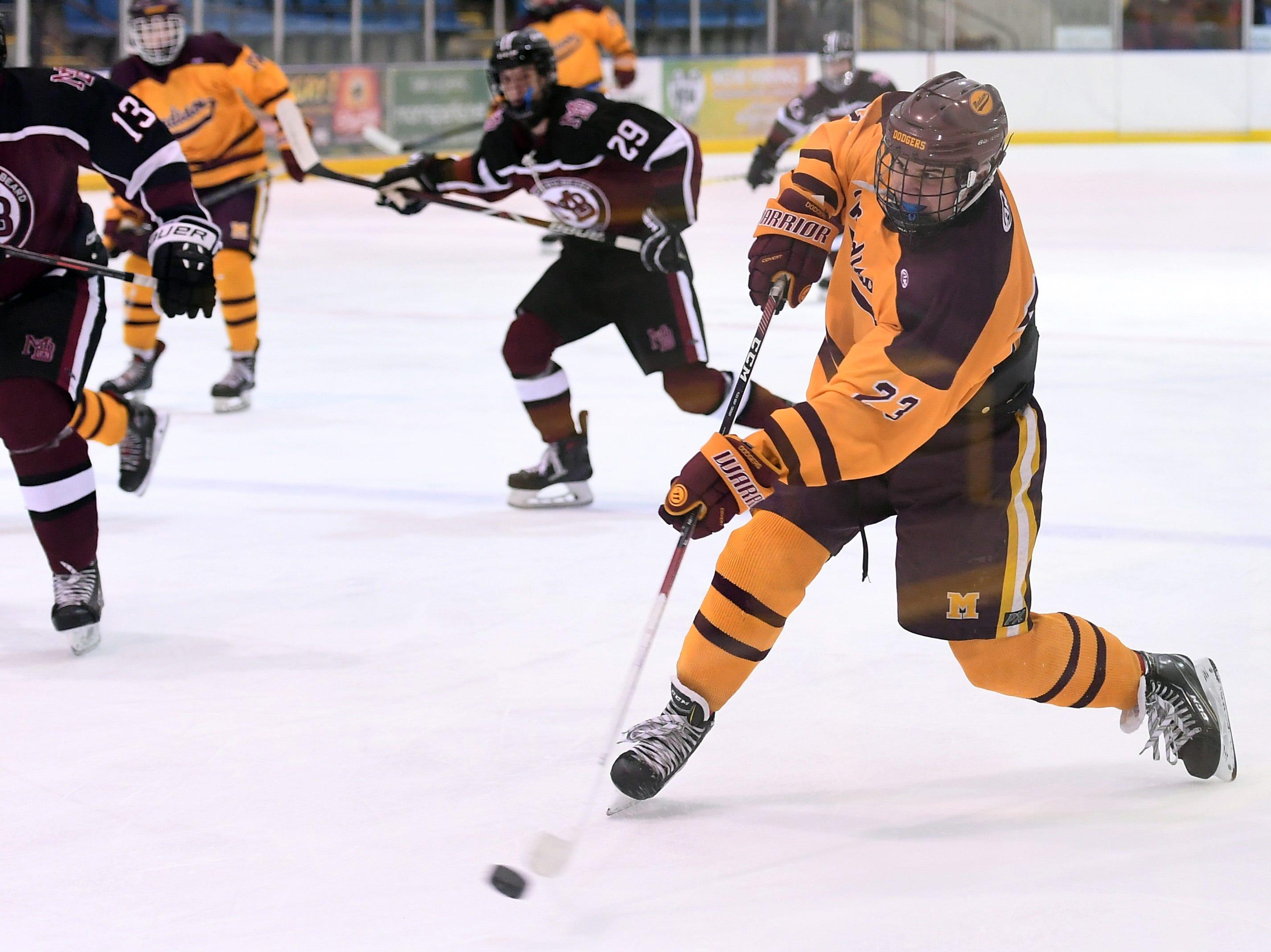 Madison ice hockey vs. Morristown-Beard at Mennen Sports Arena on Thursday, December 20, 2018. Madison #23 Jack Downs.