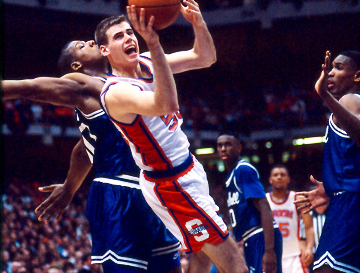 "February 9, 1992--In Syracuse, NY for the weekend to covering Parsippany Hills graduate Glenn Sekunda, all-time leading scorer in Morris County basketball history and recognized as the 1991 USA Today New Jersey Player of the Year. Reporter Chris Shaw and I were lucky enough to witness Sekunda, guarded by Seton Hall's formidable 7'2"", 290 lb center Luther Wright,  hitting the winning 15 foot shot in front of 30,000 at Syracuse University's Carrier Dome."