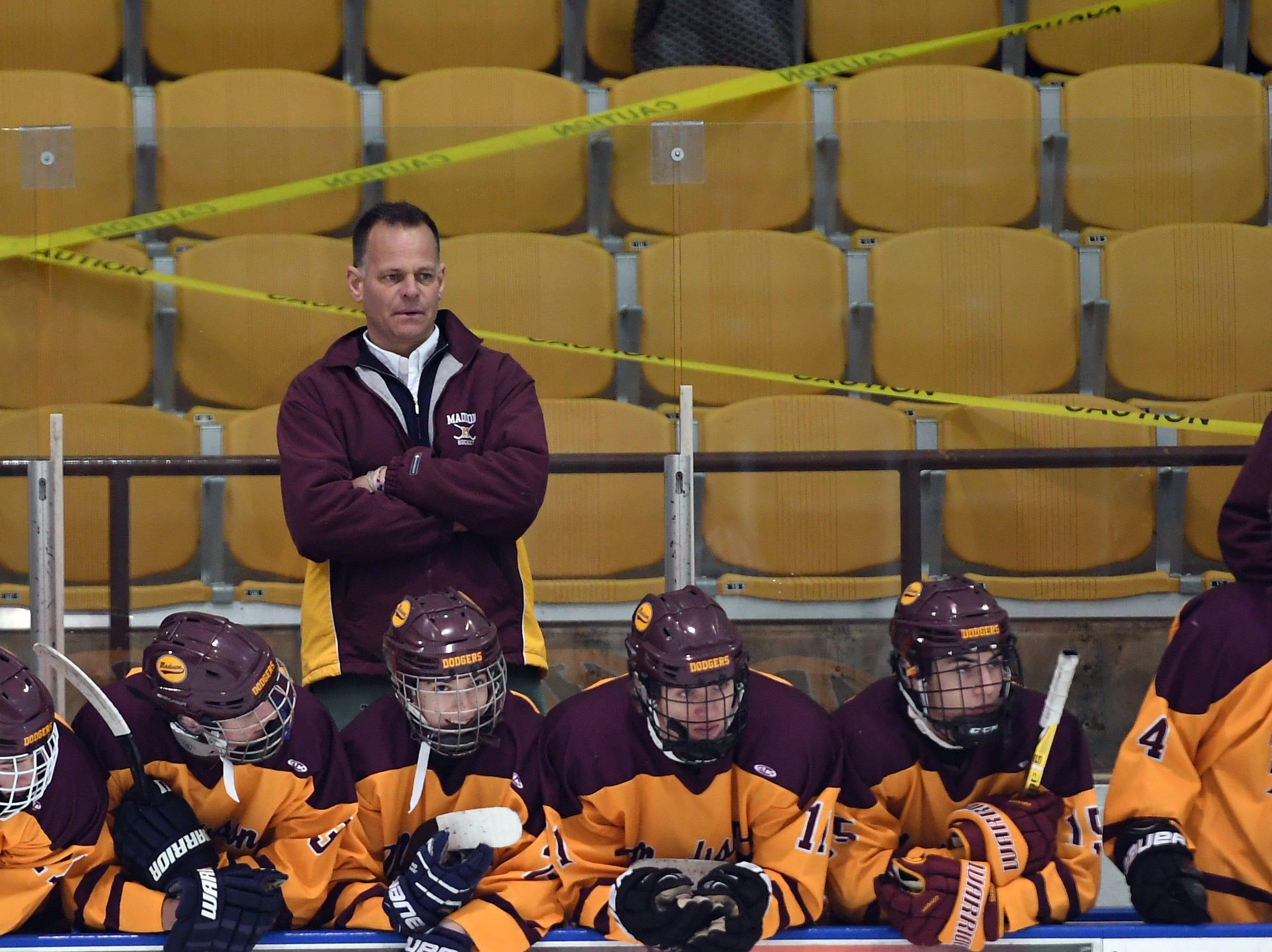Madison ice hockey vs. Morristown-Beard at Mennen Sports Arena on Thursday, December 20, 2018. Dave Hansen, Madison coach.