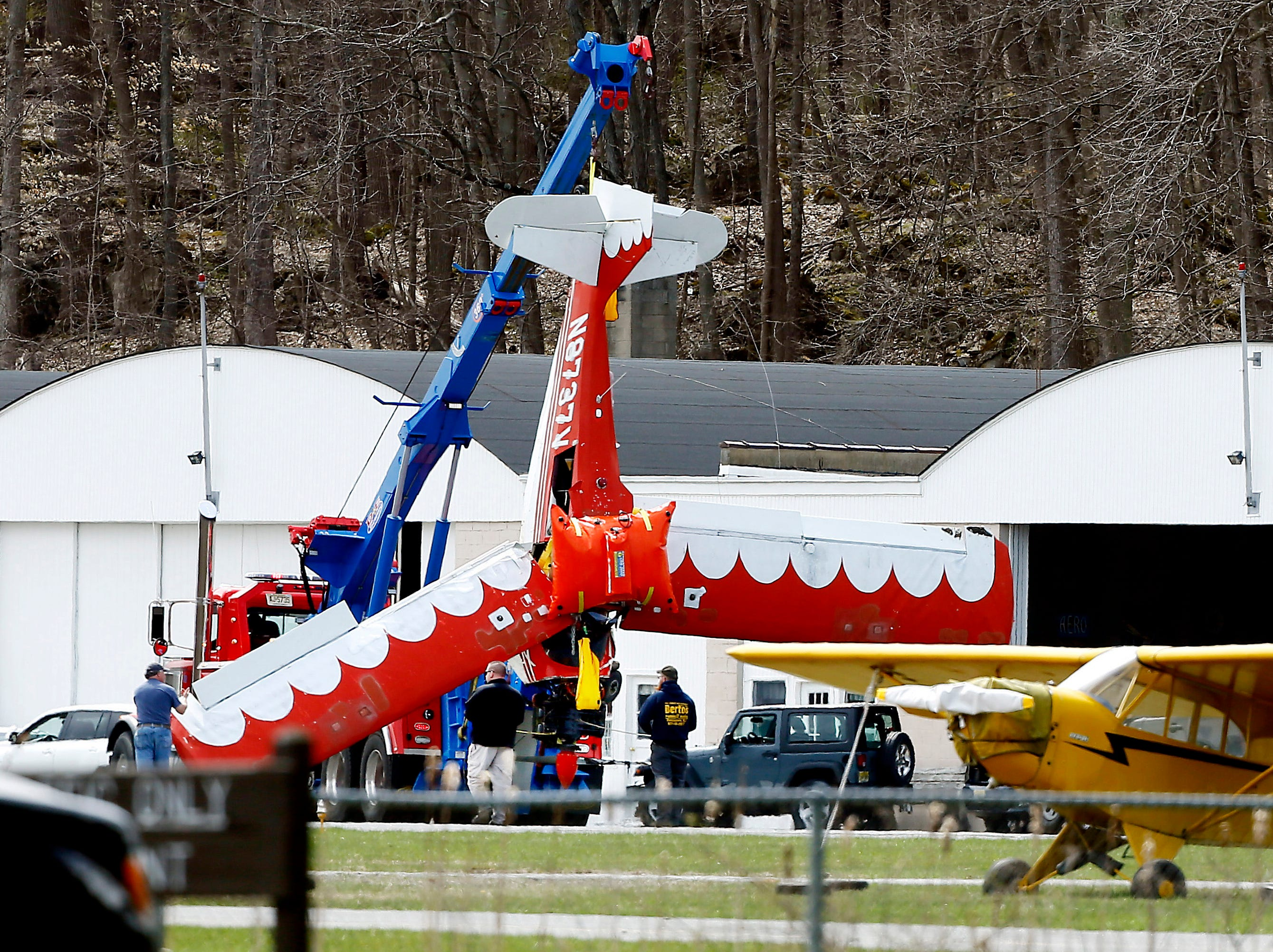 A two-seat Bellanca CH7A that crash landed in the middle of the 119-acre Lake Aeroflex at Kittatiinny Valley State Park on Monday morning was towed to a hanger at Aeroflex-Andover Airport after it was pulled from the water. April 24, 2018 Andover Twp, NJ