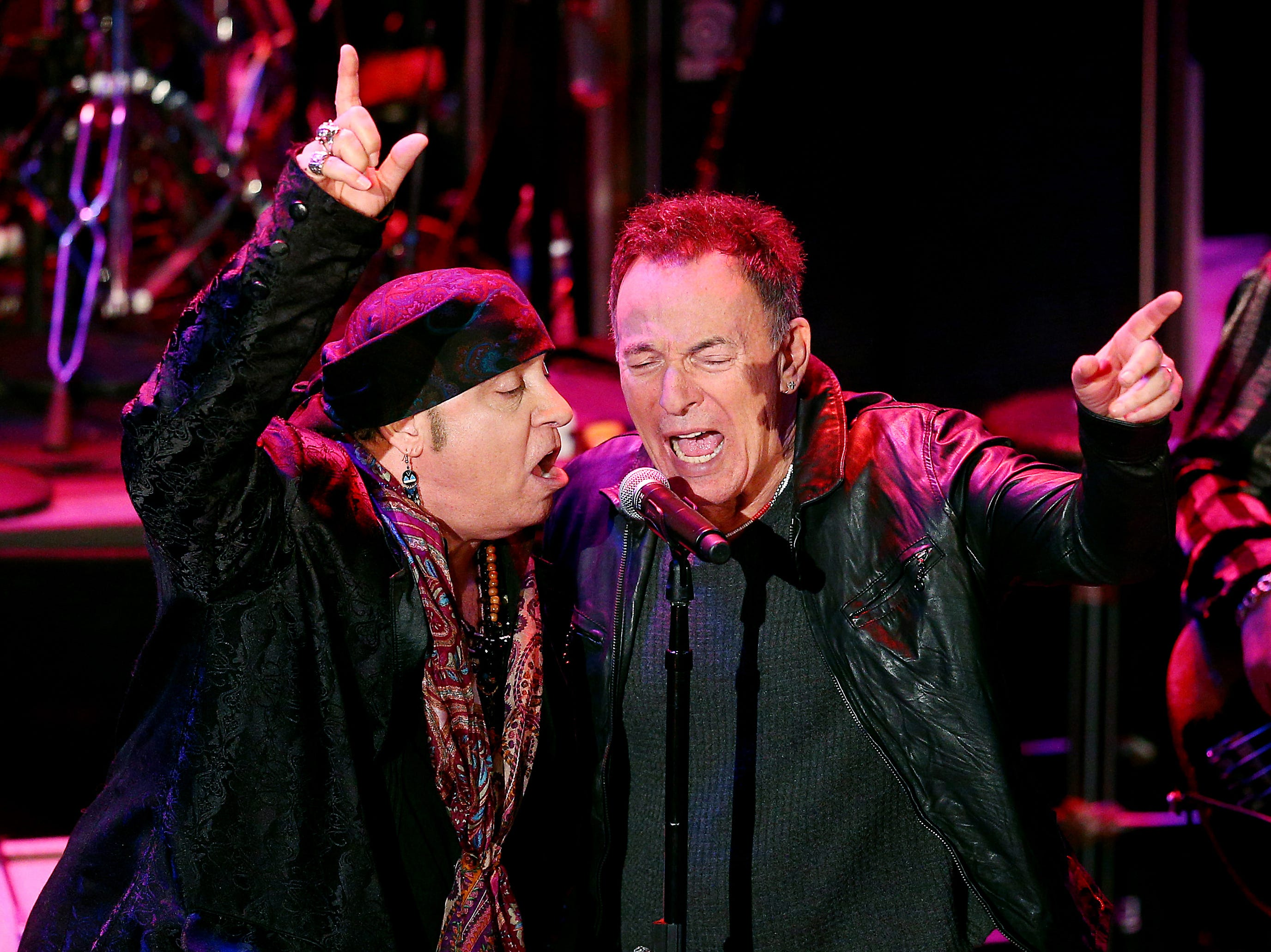 Musician and actor Steven Van Zandt and  Bruce Springsteen sing after Van Zandt received his Performing Arts award during the 10th Anniversary Induction Ceremony of the New Jersey Hall of Fame at the Paramount Theater in Convention Hall, Asbury Park. May 6, 2018. Asbury Park, NJ